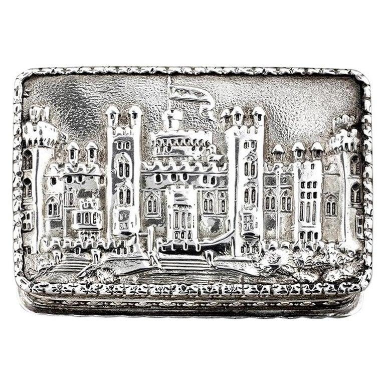 Nathaniel Mills Victorian Silver Gilt Castle-Top Vinaigrette, Windsor Castle For Sale