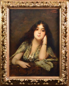Arabian Beauty - Large 19th Century Orientalist Young Girl Portrait Oil Painting