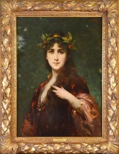 The Enchantress - Large 19th Century French Belle Epoque Portrait Oil Painting