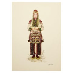 National Dresses of Macedonia Illustrated Drawing in Plate, 1963