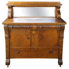 National Furniture Antique Empire Quartersawn Oak Buffet or Sideboard and Mirror