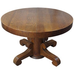 National Furniture Co. Antique Empire Quartersawn Oak Round Dining Table