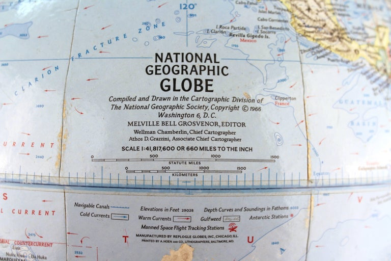 Mid-20th Century National Geographic Midcentury Globe on Stand For Sale
