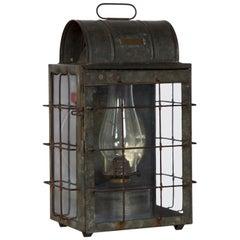 National Marine Lamp Co. Bulkhead Antique Lantern Oil Lamp, New York