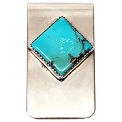 Native American Alison Tohee Sterling Silver Turquoise Money Clip
