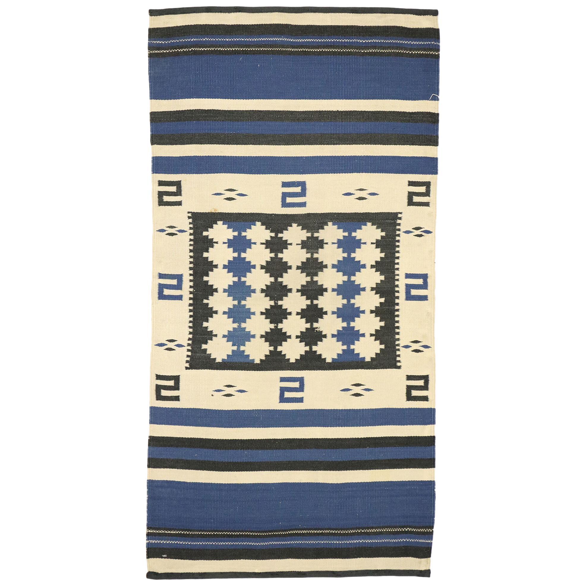Native American Antique Indian Navajo Kilim Rug, Navajo Saddle Blanket