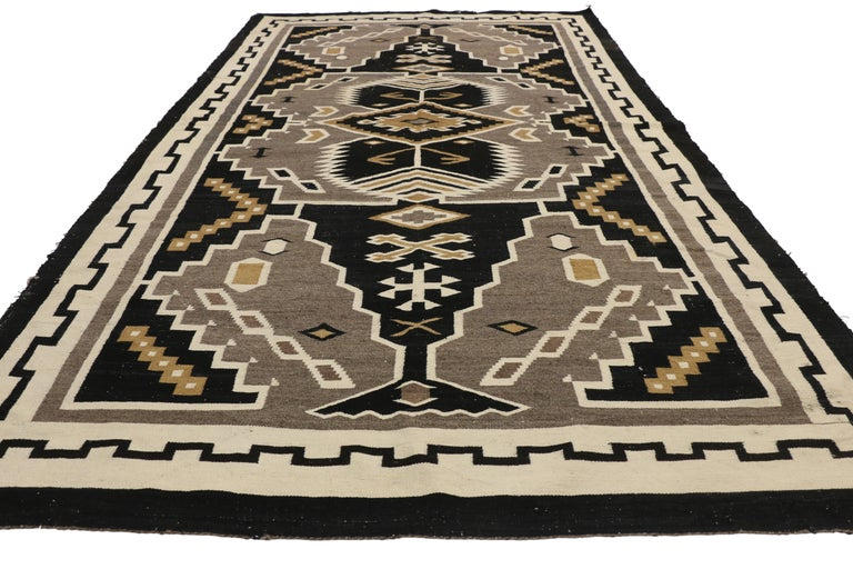 Hand-Woven Native American Antique Indian Navajo Kilim Rug with Adirondack Lodge Style For Sale