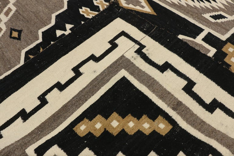 20th Century Native American Antique Indian Navajo Kilim Rug with Adirondack Lodge Style For Sale