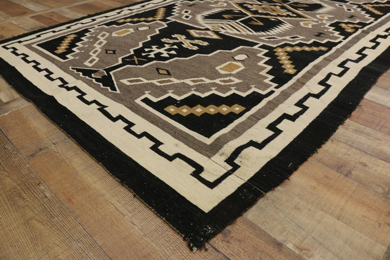 Wool Native American Antique Indian Navajo Kilim Rug with Adirondack Lodge Style For Sale