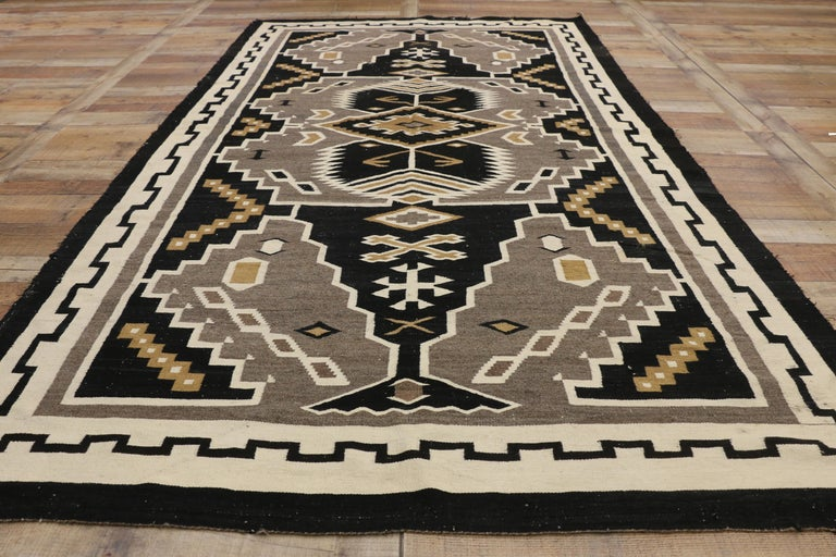 Native American Antique Indian Navajo Kilim Rug with Adirondack Lodge Style For Sale 1