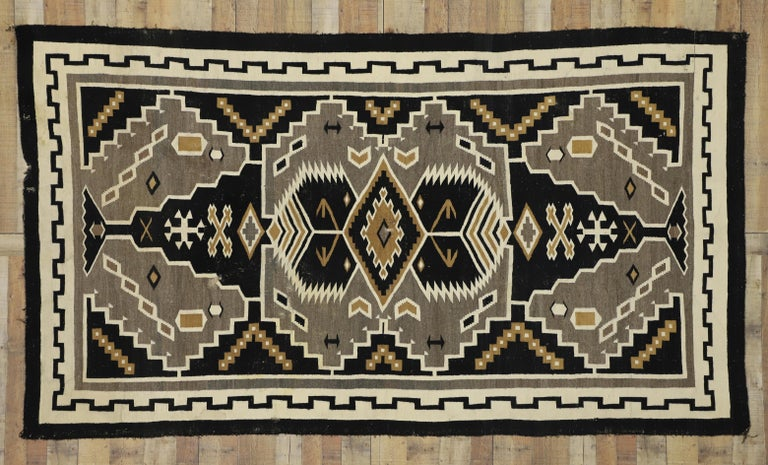 Native American Antique Indian Navajo Kilim Rug with Adirondack Lodge Style For Sale 2