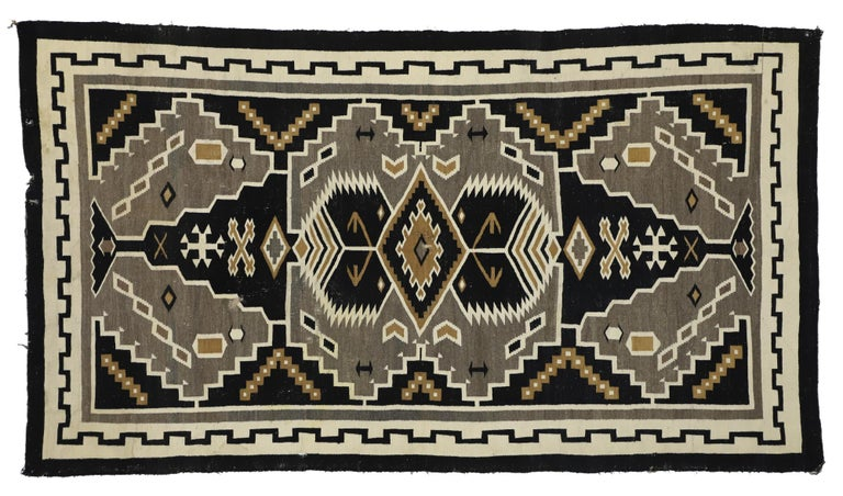 Native American Antique Indian Navajo Kilim Rug with Adirondack Lodge Style For Sale 3