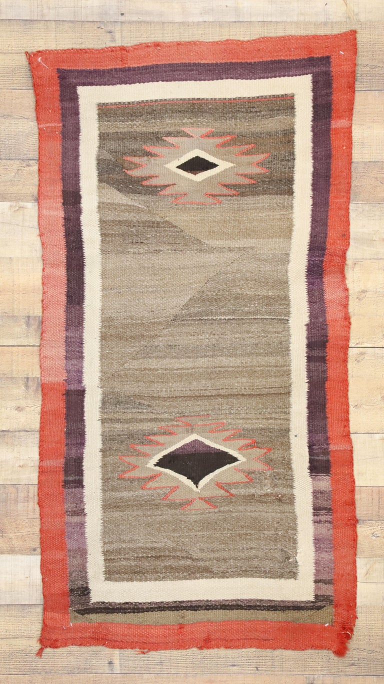 Native American Antique Indian Navajo Kilim Rug With Southwest Style