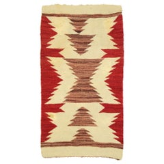 Native American Antique Kilim Rug with Navajo Two Grey Hills Style