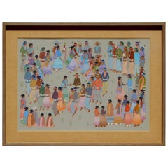 "Native American Artist Harrison Begay Tempera Painting, ""Navajo Squaw Dance"""