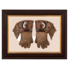 Native American Beadwork Gauntlets with an Chief, ca 1880-90