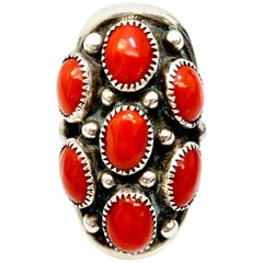 Native American Benny Touchine Sterling Silver Coral Ring