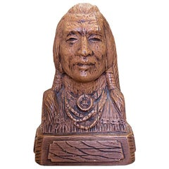 Native American Brown Faux Bois Ceramic Bust of a Warrior Titled Brave, 1969