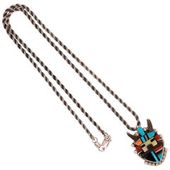 Native American CACHINI Kachina Old Pawn Pendant Necklace Estate Fine Jewelry