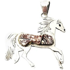 Native American Calvin Begay Sterling Silver Stone Inlay Horse Pendant