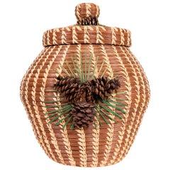 Native American Coushatta Lidded Pine Needle Basket