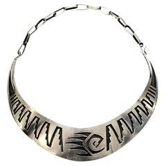 Native American Hopi Elgene Sehongva Sterling Silver Bear Paw Collar Necklace