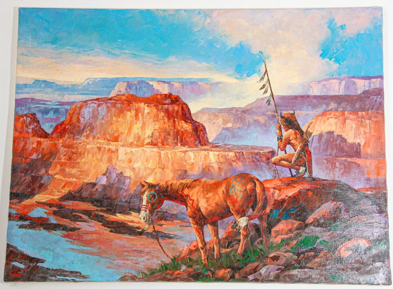 Native American Hunter with his Mustang Oil Painting For Sale 7
