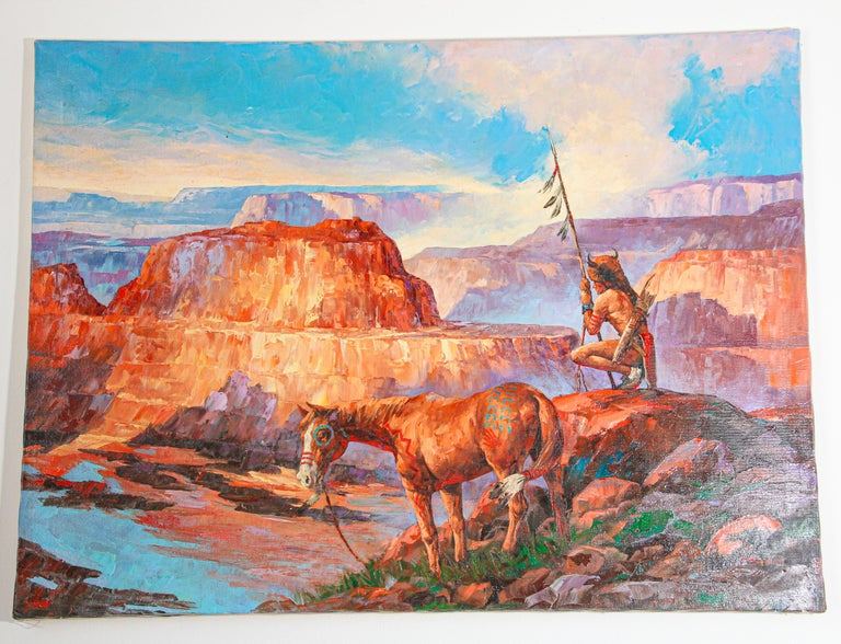 Native American Hunter with his Mustang oil painting on cannvas. Original Contemporary oil painting canvas stretched on wood.. Signed on the right corner. ( illisible).