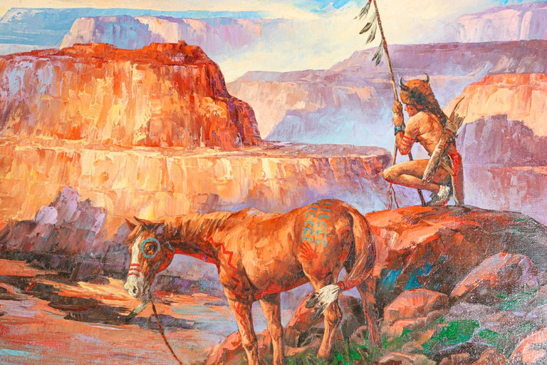 Folk Art Native American Hunter with his Mustang Oil Painting For Sale