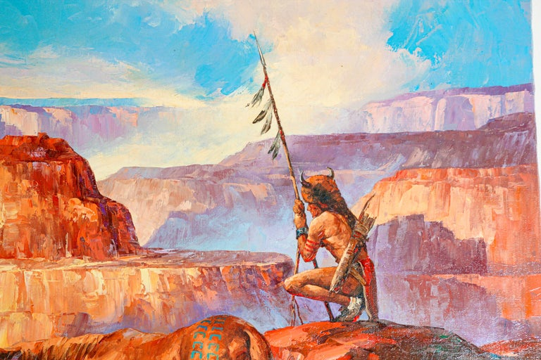 Native American Hunter with his Mustang Oil Painting In Good Condition For Sale In North Hollywood, CA