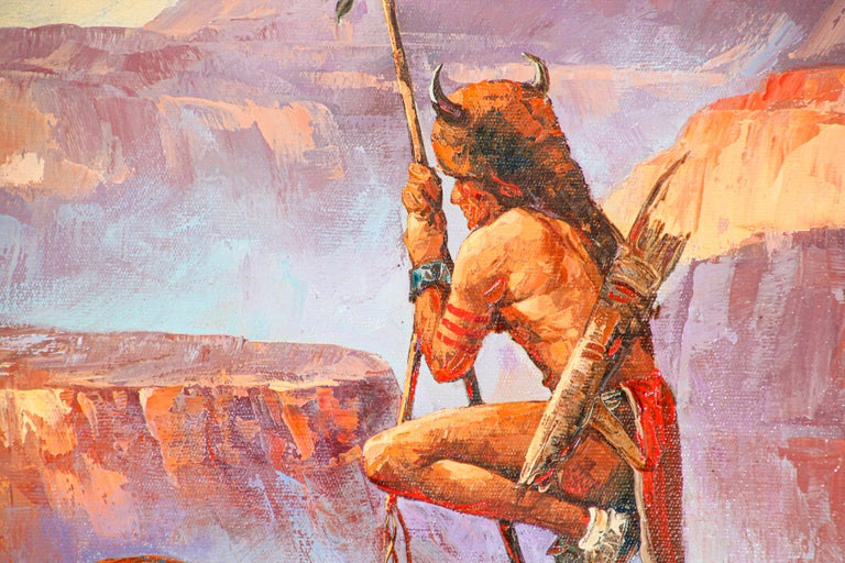 20th Century Native American Hunter with his Mustang Oil Painting For Sale