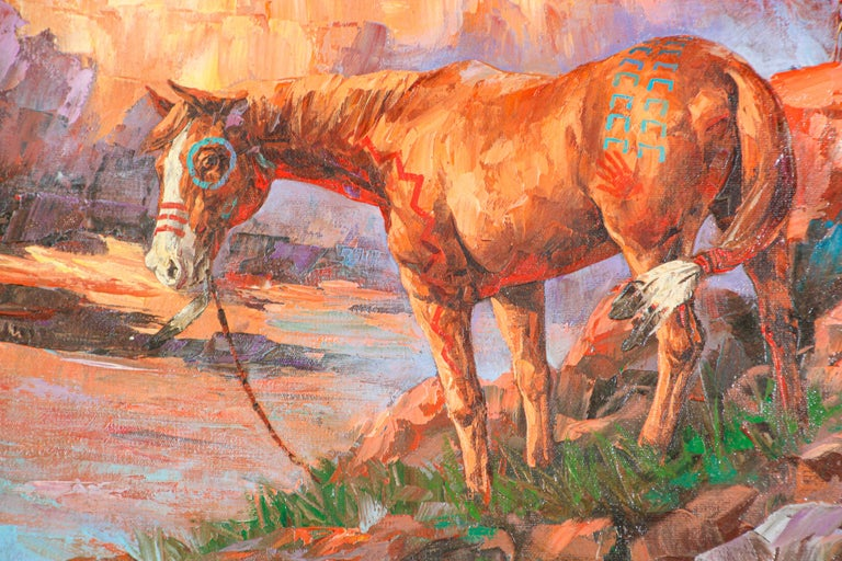Canvas Native American Hunter with his Mustang Oil Painting For Sale