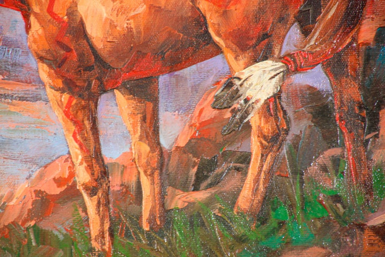 Native American Hunter with his Mustang Oil Painting For Sale 2
