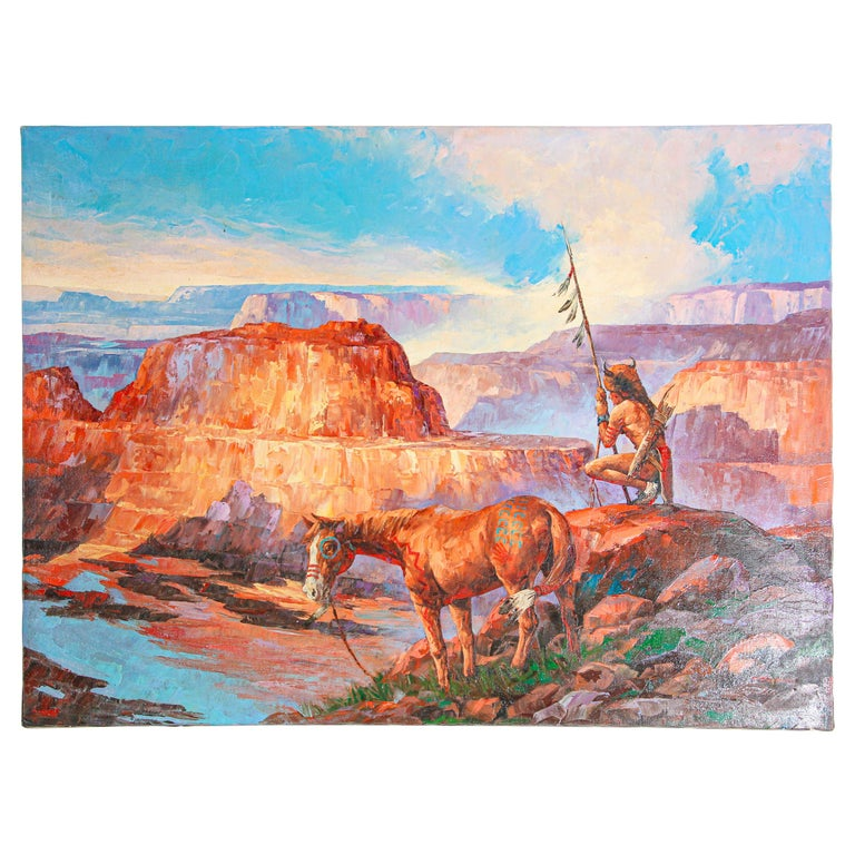 Native American Hunter with his Mustang Oil Painting For Sale
