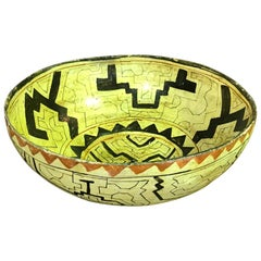 Native American Indian Large Shipibo-Conibo Amazon Tribe Peru Pottery Bowl
