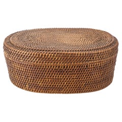 Native American Indian Woven Coiled Lidded Oval Basket