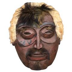Native American Inuit Eskimo Antique Dance Mask, 1900
