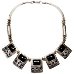 Native American Jack Tom Sterling Silver Onyx Panel Necklace