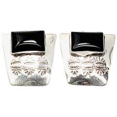 Native American M Begay Sterling Silver Onyx Earrings