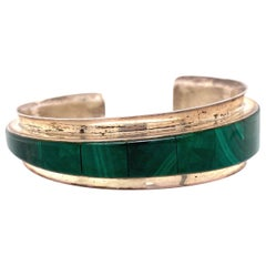 Native American Malachite Sterling Silver Cuff Bracelet Estate Fine Jewelry