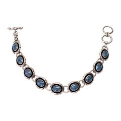 Native American Murray Jackson Sterling Silver Lapis Lazuli Link Bracelet