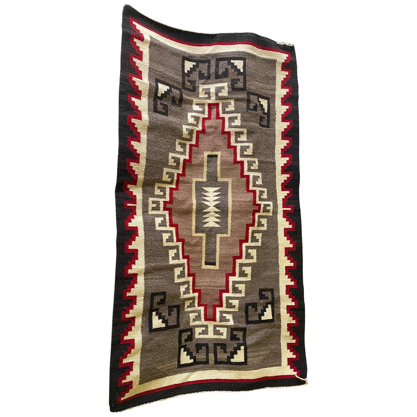 Native American Navajo Colorful Handwoven Geometric Pattern Blanket Rug