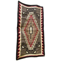 Native American Navajo Colorful Handwoven Geometric Pattern Blanket Rug