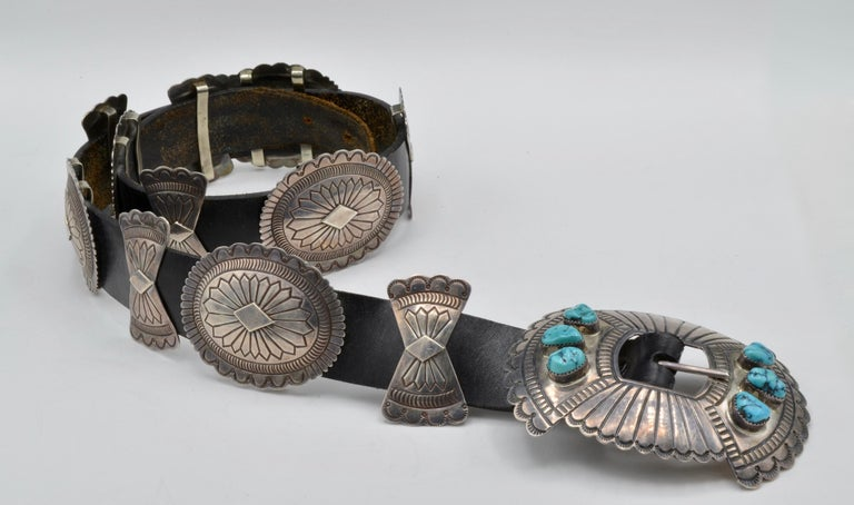 Native American Navajo Concho Belt Silver and Turquoise Susie James In Excellent Condition For Sale In Berkeley, CA