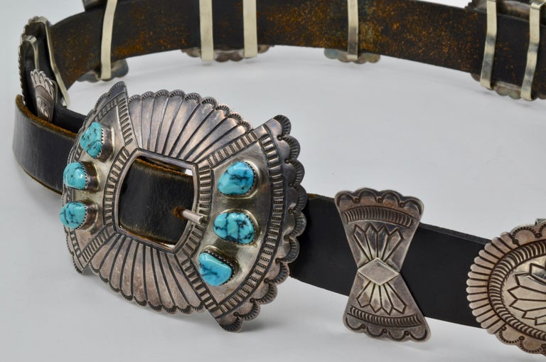 Native American Navajo Concho Belt Silver and Turquoise Susie James For Sale 1