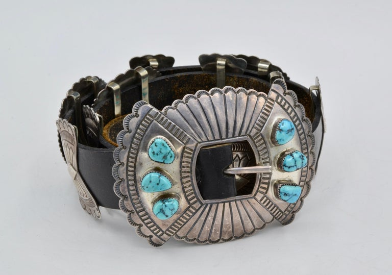Native American Navajo Concho Belt Silver and Turquoise Susie James For Sale 2