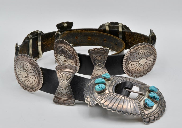 Native American Navajo Concho Belt Silver and Turquoise Susie James For Sale 3