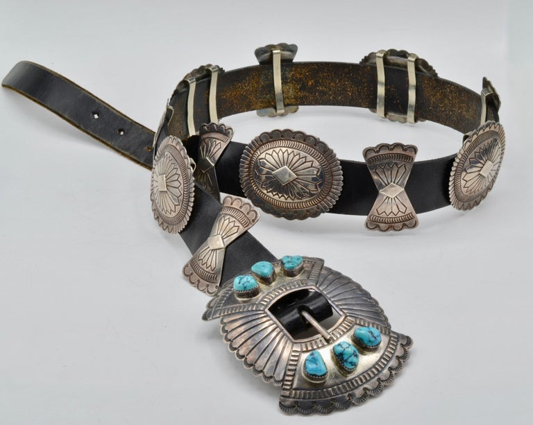 Native American Navajo Concho Belt Silver and Turquoise Susie James For Sale 4