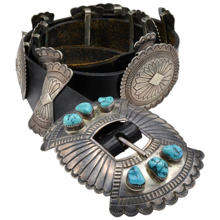 Native American Navajo Concho Belt Silver and Turquoise Susie James For Sale