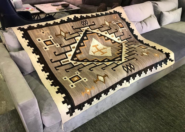 A beautiful Native American Navajo crystal Region rug made from native wool, hand-carded, hand-spun, aniline dye, mohair grey, JB Moore variant, exceptional condition, woven with great skill as it is very finely and tightly woven.